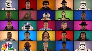 "getlinkyoutube.com-Jimmy Fallon, The Roots & ""Star Wars: The Force Awakens"" Cast Sing ""Star Wars"" Medley (A Cappella)"
