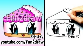 getlinkyoutube.com-Cute Drawings - How to Draw Kawaii Cartoons - Cake
