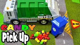 Garbage Truck Video - Colorful Candy Pickup