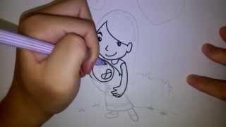 getlinkyoutube.com-สอนวาดการ์ตูน วันแม่ แม่อุ้มลูก