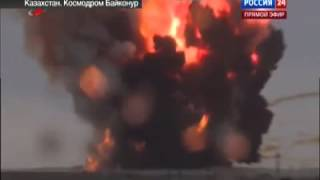 getlinkyoutube.com-Russian Proton-M rocket explodes after flying wildly out of control