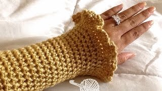getlinkyoutube.com-How To Crochet Glama's Ruffly Wrist Warmers/Coat Cuffs