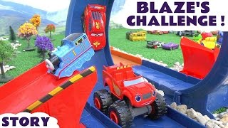 getlinkyoutube.com-Blaze Challenge | Disney Cars with Thomas and Friends and Superheroes | Monster Dome Race Toy Set