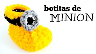 getlinkyoutube.com-Botitas para bebé a Crochet (MINION) - tutorial paso a paso (ENGLISH SUBS)
