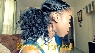 getlinkyoutube.com-Natural Hair - Braidout Ponytail Tutorial!!