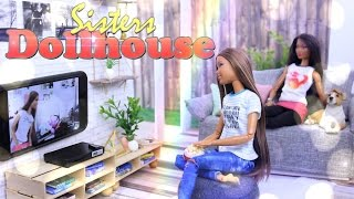 DIY - How to Make: Sisters Dollhouse EXTREME CRAFT Working Television Room & Backyard - 4K