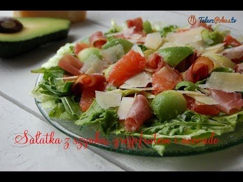 Sałatka z szynką, grejpfrutem i avocado