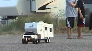RC Tamiya F350 and custom built 5th wheel travel trailer