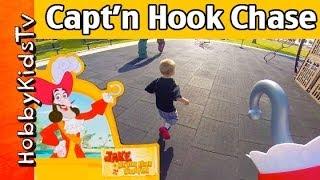 getlinkyoutube.com-Play-Doh Captain Hook Chases HobbyKids on Pirate Ship