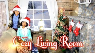 getlinkyoutube.com-DIY - How to Make: Cozy Doll Living Room & Realistic Fireplace - Handmade - Doll - Crafts