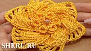 getlinkyoutube.com-How to Crochet 6-Petal Flower Урок 59 Часть 1 из 2 Вязаный крючком цветок