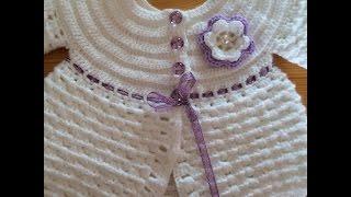How to Crochet a Baby Sweater شرح طريقة عمل الصدر الدائري بالكروشيه