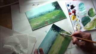 10-Minuten-Malerei: Landschaft mit Blumenwiese