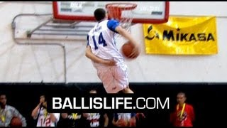 getlinkyoutube.com-Zach LaVine SHUTS DOWN High School Dunk Contest! NASTY Behind The Back & Reverse Eastbay To Win It!