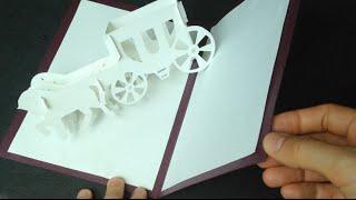 getlinkyoutube.com-3D Wedding Carriage Card Pop-up Paper Tutorial