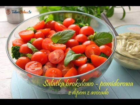 Sałatka brokułowo-pomidorowa z dipem z avocado
