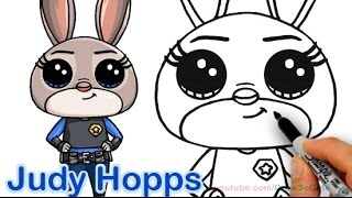 getlinkyoutube.com-How to Draw Disney Zootopia Rabbit Judy Hopps Step by step Cute