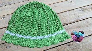 getlinkyoutube.com-Chapeau de soleil Crochet / Sombrero de sol tejido a crochet