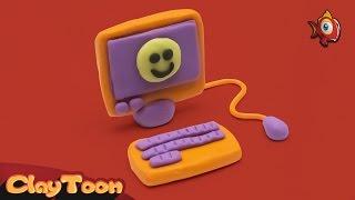 Computer - polymer clay tutorial | كمبيوتر - تشكيل صلصال للأطفال