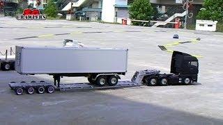 getlinkyoutube.com-Tamiya 1/14 Semi trucks Globe Liner Scania R620 MAN TGX 6x4 King Hauler dropbed flatbed trailer