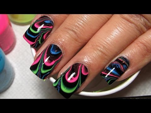 Black & Neon Water Marble Nail Art Tutorial (Water Marble March 2014 #3)