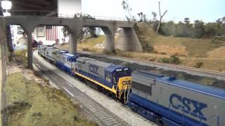 getlinkyoutube.com-CSX GE Powered Coal Train HO Scale Full Run HD