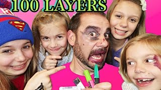 💄INSANE 100 LAYERS OF MAKEUP!! DAD AND DAUGHTERS CHALLENGE!!
