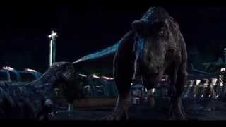 getlinkyoutube.com-Jurassic World T rex vs I rex [T rex roars resounded a little]