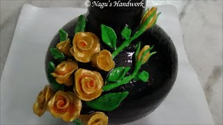 getlinkyoutube.com-Pot Painting in English-Rose Embossing using MSeal By Nagu's Handwork