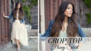 getlinkyoutube.com-Crop Top & Flowy Skirt OOTD