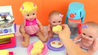 getlinkyoutube.com-Baby Dolls Twin Babies Lil Cutesies Doll Eating Play Doh Food Cooked for Breakfast Toy Videos