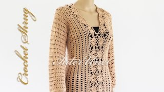 getlinkyoutube.com-Sweater shrug crochet pattern - how to crochet lace pullover. Part 2.