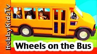 getlinkyoutube.com-Wheels on the Bus SONG short version lyrics and subtitled All Through the Town HobbyKidsTV