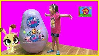 getlinkyoutube.com-LITTLEST PET SHOP WORLD'S BIGGEST SURPRISE EGG Opening Toys LPS Blythe Dance Party ToysReview