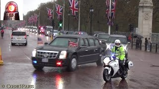 getlinkyoutube.com-President Obama Secret Service Motorcade in London 2016