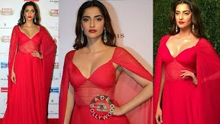 Sonam Kapoor Beautiful Red Dress at Hall Of Fame Awards