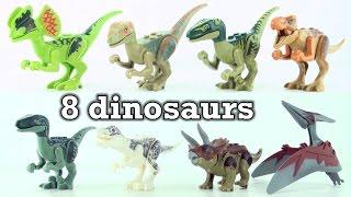 getlinkyoutube.com-8 lego dinosaurs from Jurassic world - Tyrannosaurus Velociraptor Indominus Rex Triceratops