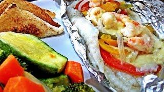 getlinkyoutube.com-Pescado Empapelado con Camarones, Queso y Vegetales