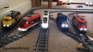 getlinkyoutube.com-LEGO Train Track Setup Featuring Passenger and Cargo Trains with Lights!