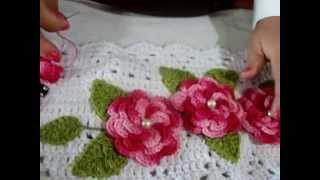 getlinkyoutube.com-como fazer aplicação de flores e folhas em trabalhos de croche