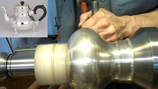 getlinkyoutube.com-Metalldrücken ( Metal Spinning of aTeapot) eines Teekannen-Korpus in Silber 0925 Schritt2