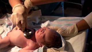 getlinkyoutube.com-Newborn Baby Selena's Clean Up and First Cry