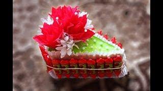 getlinkyoutube.com-Как быстро и легко сделать кусочек торта из конфет на подарок