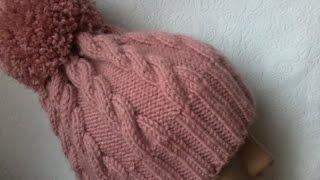 getlinkyoutube.com-Вязание шапки с косами спицами.
