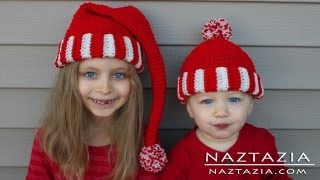 getlinkyoutube.com-Learn How to Crochet Easy Santa Hat Elf Pixie Beanie for Kids, Adults (Change Colors with Yarn)