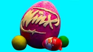 getlinkyoutube.com-Winx Club Mega Big surprise eggs unboxing Kinder Joy toys huevos sorpresa unboxing