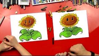 getlinkyoutube.com-How To Draw A Sunflower (Plants vs. Zombies)
