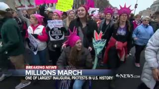 getlinkyoutube.com-Trump's First Day Met by Demonstrations in Cities Around the US