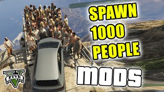 GTA 5 Mods - PUSHING 1000 PEOPLE OFF MT. CHILIAD - (GTA V PC - Fun With Mods)