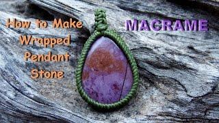 getlinkyoutube.com-How to make a macrame handmad Wrapped Lavender Jade stone pendant